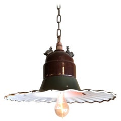 Large Industrial Ruffled Porcelain Enamel Gas Station Pendant Light