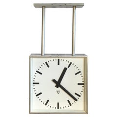 Large Industrial Square Double Sided Factory Clock from Pragotron,1960s