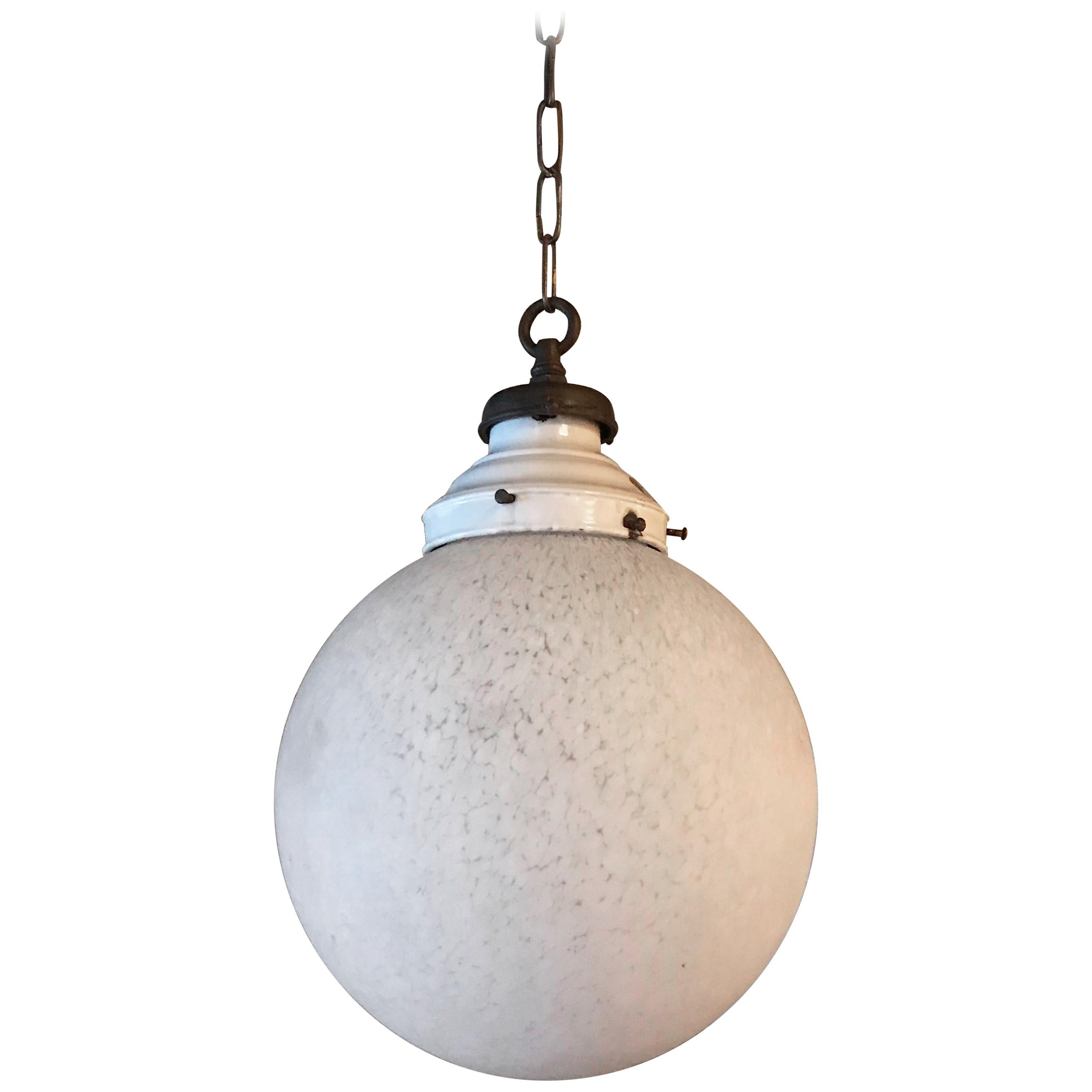 Large Industrial Textured Frosted Glass Globe Pendant Light