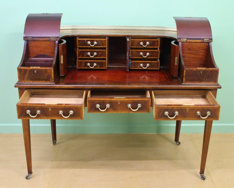Large Inlaid Mahogany Carlton House Desk by Jas Shoolbred and Co. For Sale 3