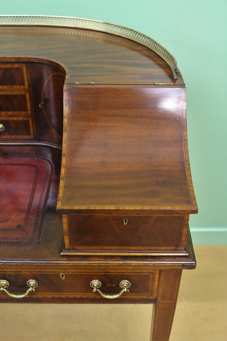 Sheraton Large Inlaid Mahogany Carlton House Desk by Jas Shoolbred and Co. For Sale