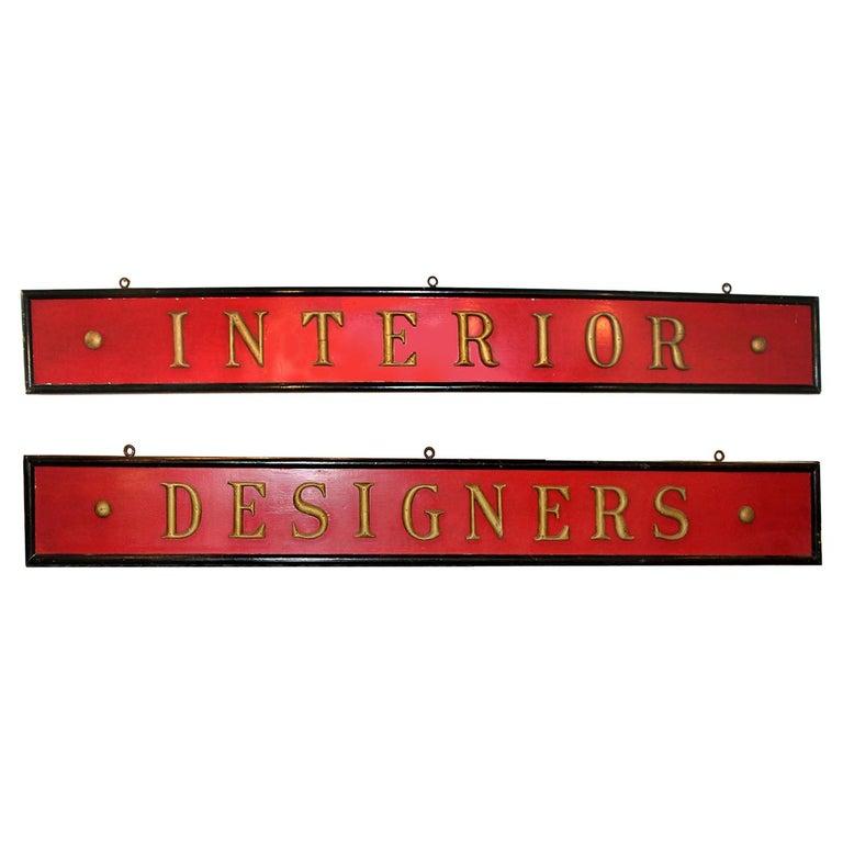 """Large """"Interior Design"""" Signs Set For Sale"""