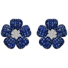Large Invisibly-Set Sapphire and Diamond Flower Earrings
