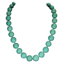 Large Iranian Turquoise Round and Smooth Beads Necklace
