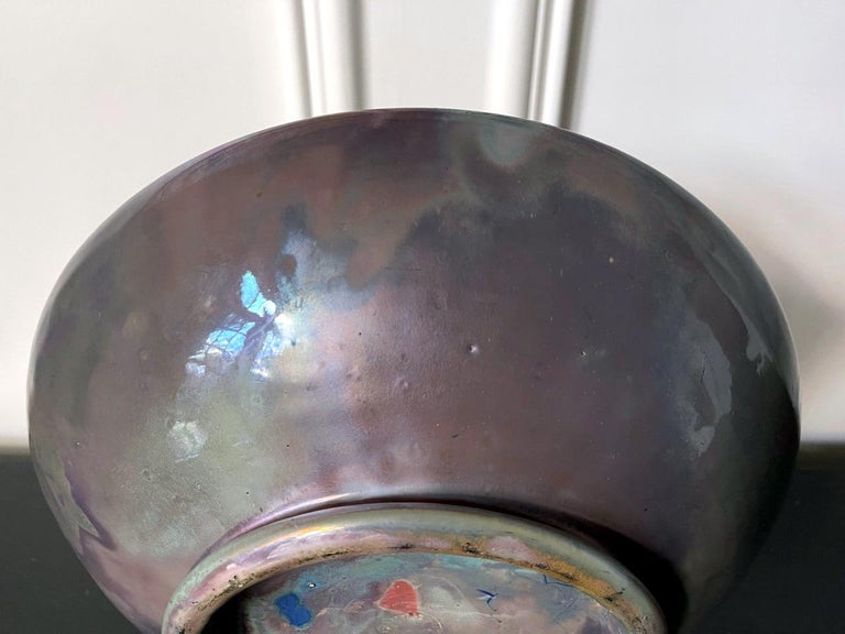 Large Iridescent Pewabic Ceramic Centerpiece Bowl For Sale 5