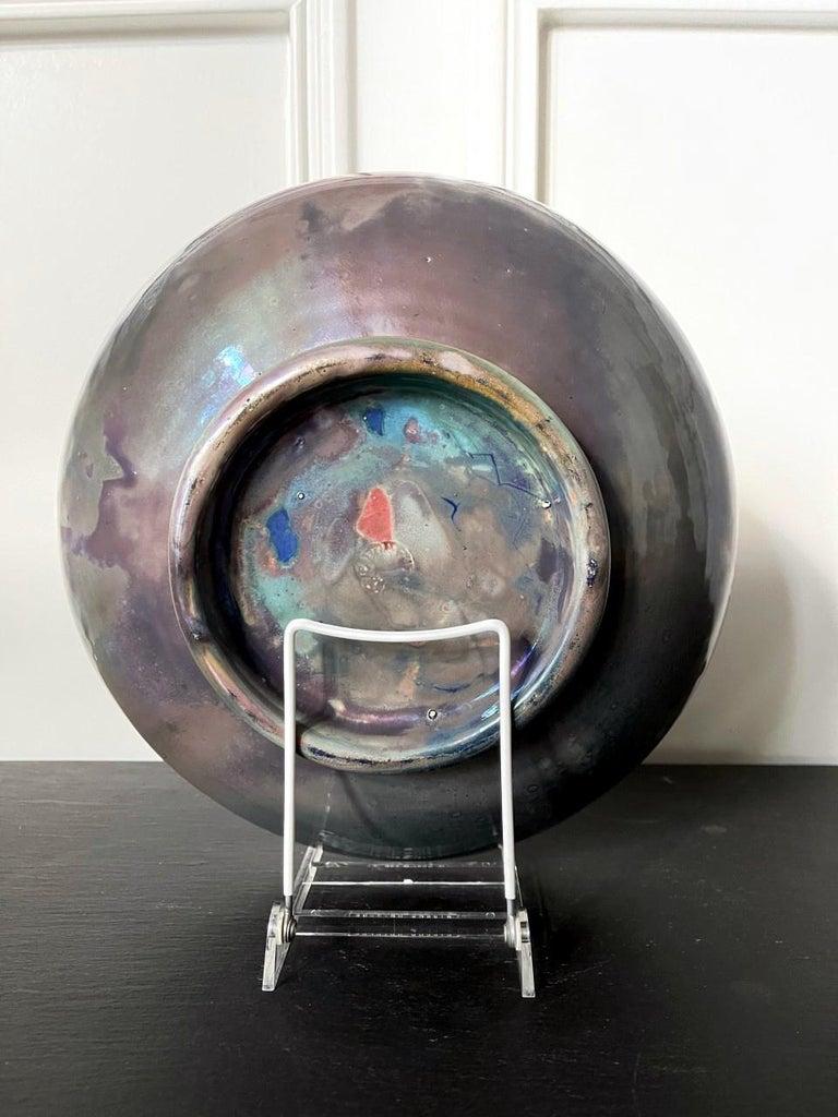 American Large Iridescent Pewabic Ceramic Centerpiece Bowl For Sale