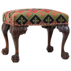 Large Irish Chippendale Style Country House Stool Mahogany Hairy Paw Feet