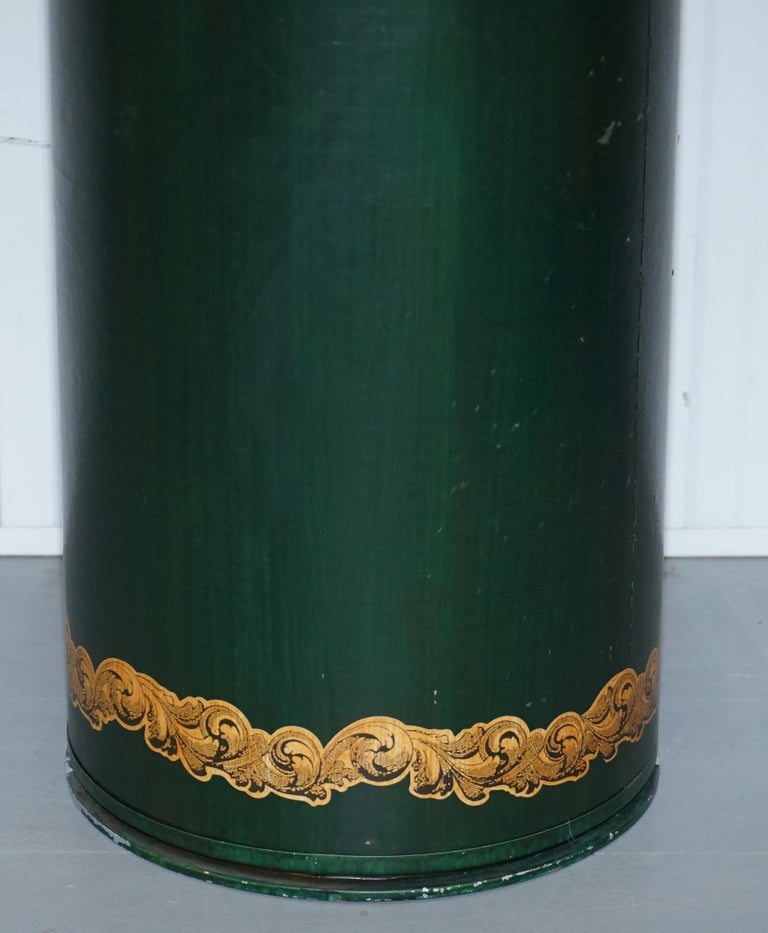Large Irish Green Pedestal Drum Stand with Picture of a Victorian Lady on For Sale 2
