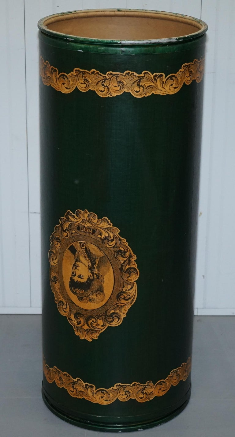 Large Irish Green Pedestal Drum Stand with Picture of a Victorian Lady on For Sale 3