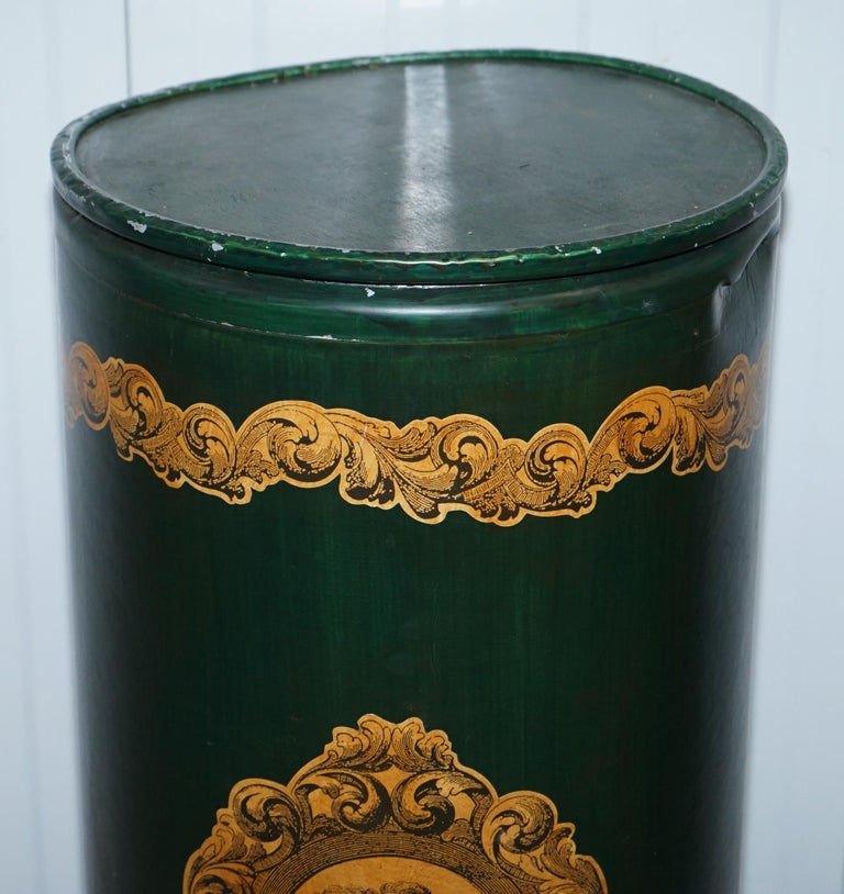 Georgian Large Irish Green Pedestal Drum Stand with Picture of a Victorian Lady on For Sale