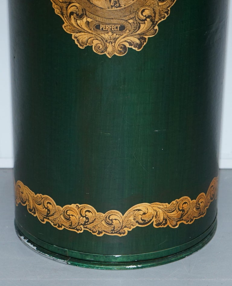 Northern Irish Large Irish Green Pedestal Drum Stand with Picture of a Victorian Lady on For Sale