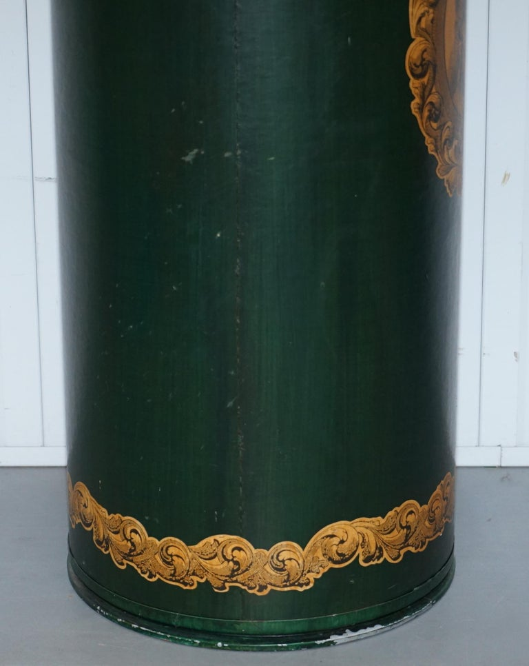20th Century Large Irish Green Pedestal Drum Stand with Picture of a Victorian Lady on For Sale