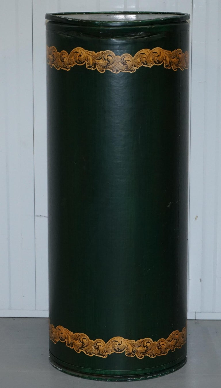 Wood Large Irish Green Pedestal Drum Stand with Picture of a Victorian Lady on For Sale