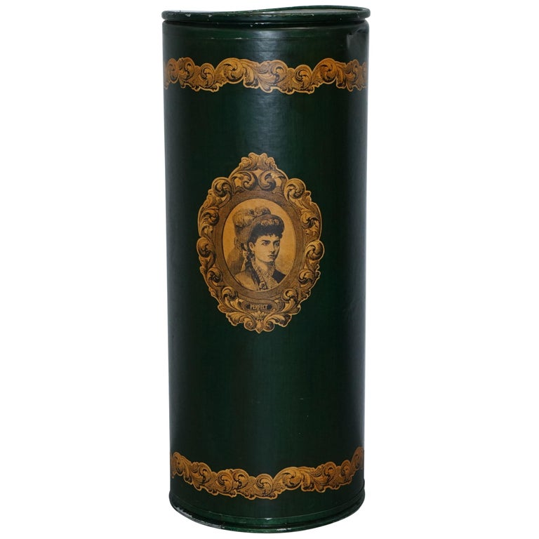 Large Irish Green Pedestal Drum Stand with Picture of a Victorian Lady on For Sale
