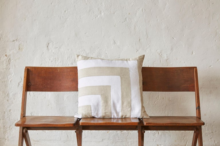 A custom made luxury contemporary pillow (cushion) of 100% pure Irish linen. A signature combination of Classic pristine white matched with traditional oatmeal. From a vintage batch of fabric new and unused, with the old mill labelling still