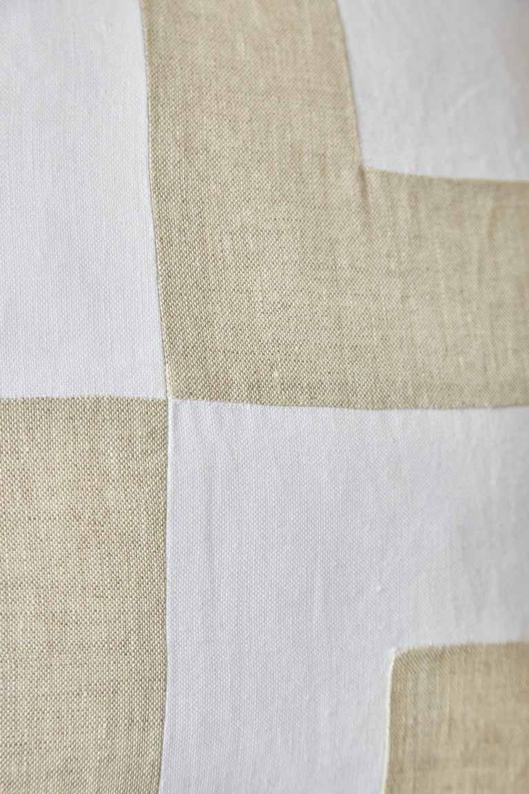 Northern Irish Large Irish Linen Pillow Cushion Vintage White Natural Patchwork For Sale