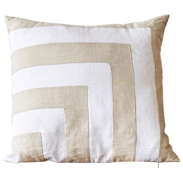 Large Irish Linen Pillow Cushion Vintage White Natural Patchwork For Sale