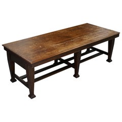 Large Irish Oak Refectory Scrub Table with Twin Stretchers circa 1840 Dining