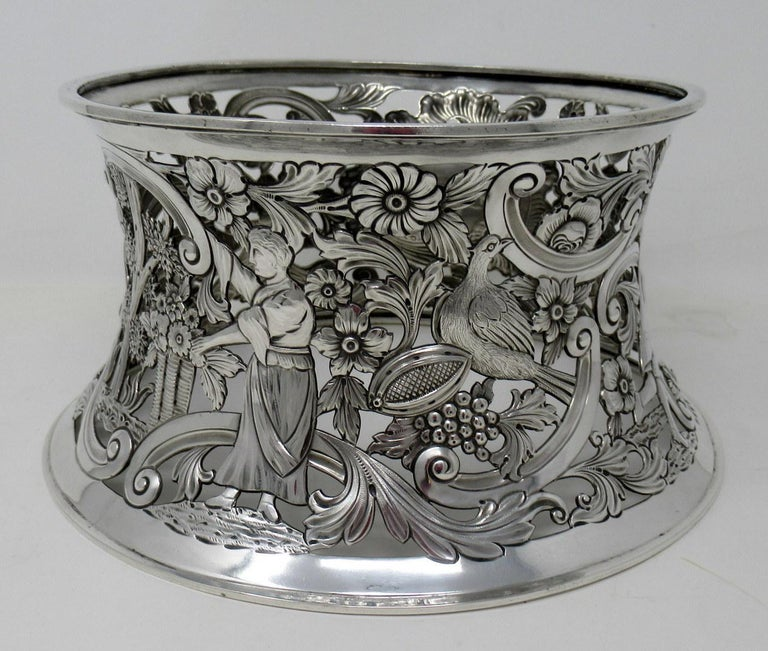 Etched Large Irish Sterling Silver Dish Ring by Charles Lamb Dublin Ireland 1903, 26ozs For Sale