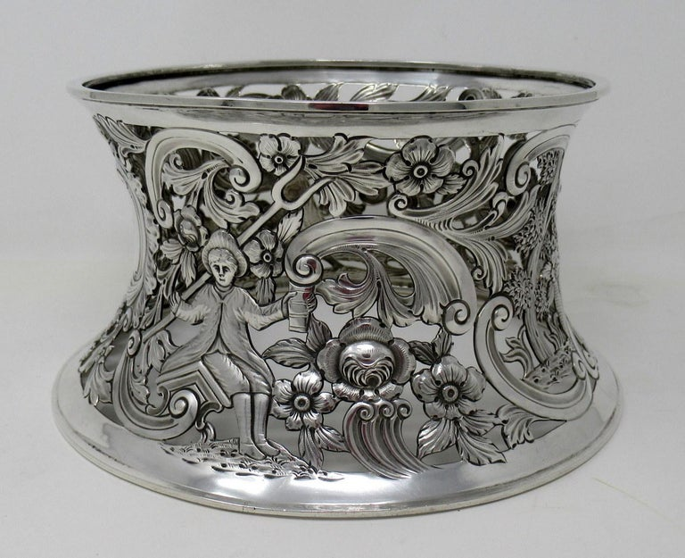 Large Irish Sterling Silver Dish Ring by Charles Lamb Dublin Ireland 1903, 26ozs In Good Condition For Sale In Dublin, Ireland