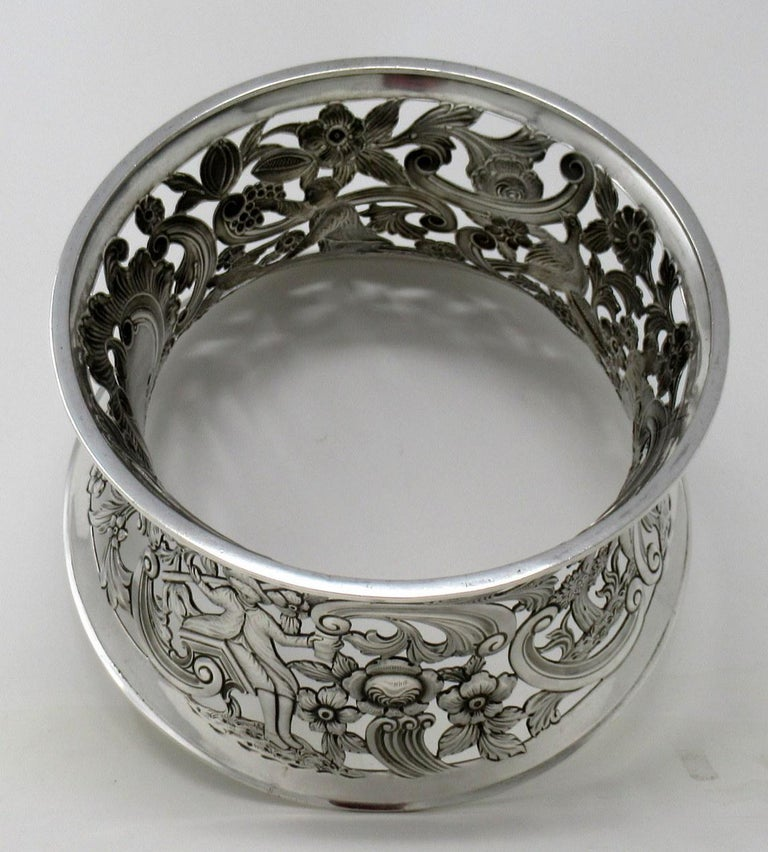 20th Century Large Irish Sterling Silver Dish Ring by Charles Lamb Dublin Ireland 1903, 26ozs For Sale
