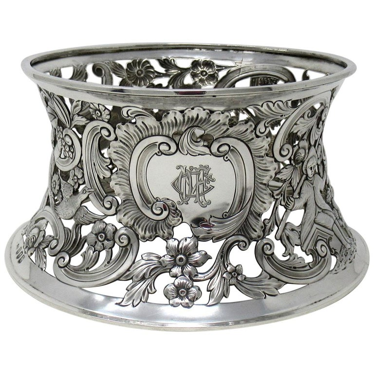 Large Irish Sterling Silver Dish Ring by Charles Lamb Dublin Ireland 1903, 26ozs For Sale