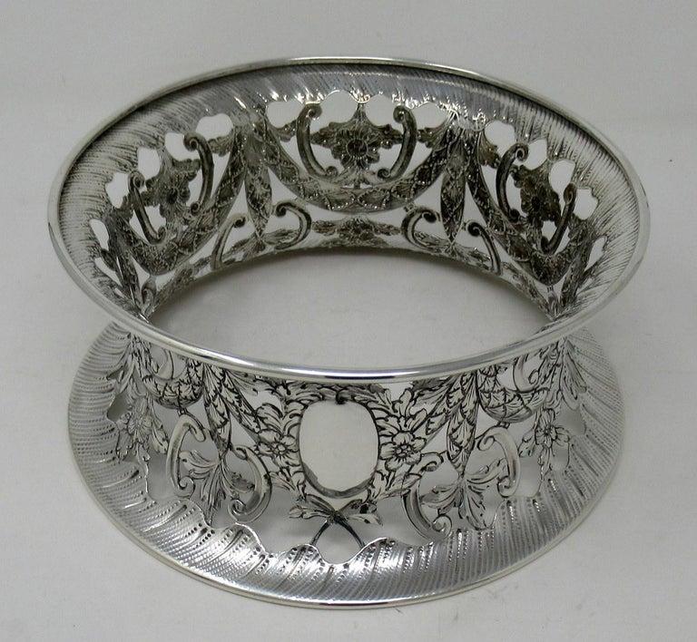Rococo Large Irish Style Sterling Silver Dish Ring Birmingham 1913 Williams Ltd 14 ozs For Sale