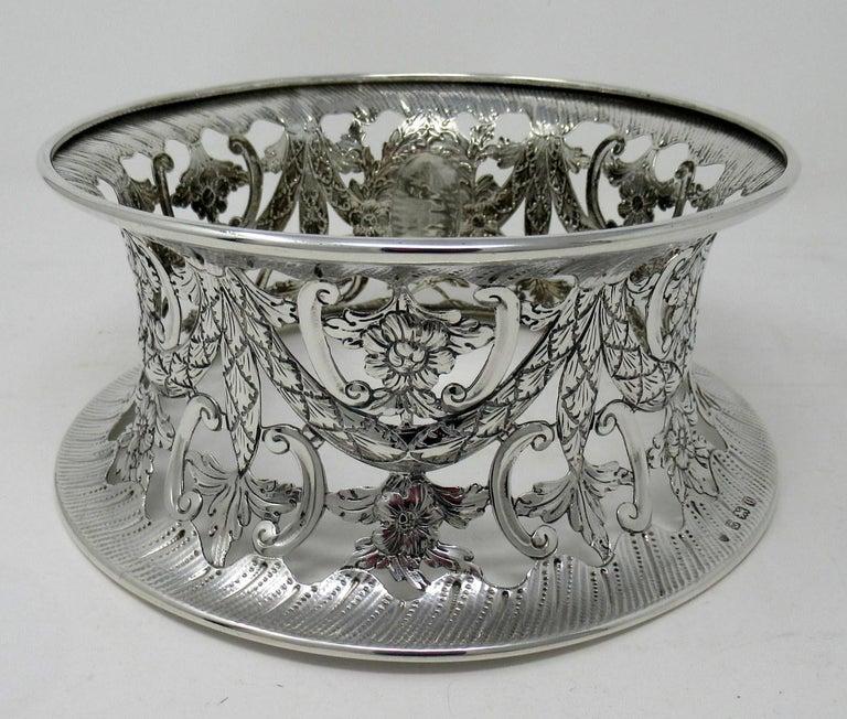 English Large Irish Style Sterling Silver Dish Ring Birmingham 1913 Williams Ltd 14 ozs For Sale