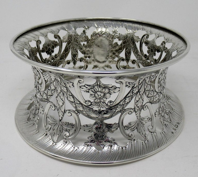 Etched Large Irish Style Sterling Silver Dish Ring Birmingham 1913 Williams Ltd 14 ozs For Sale
