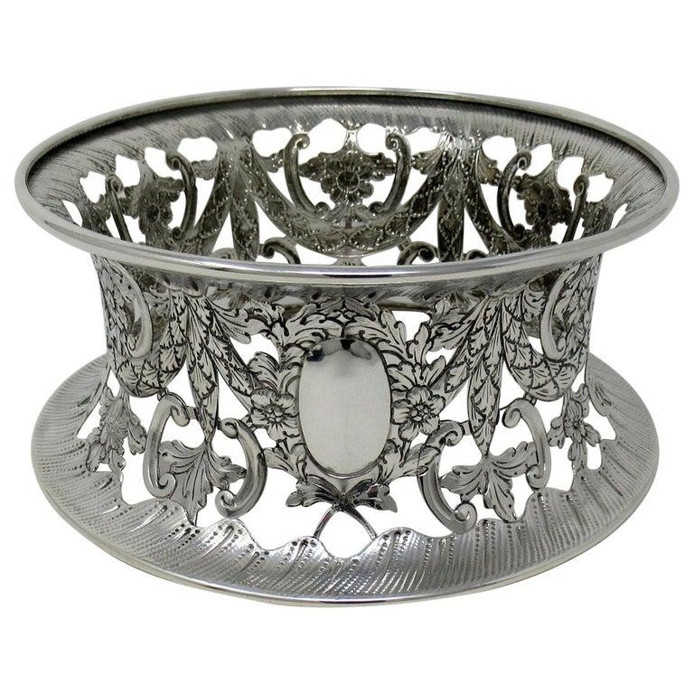 Large Irish Style Sterling Silver Dish Ring Birmingham 1913 Williams Ltd 14 ozs For Sale