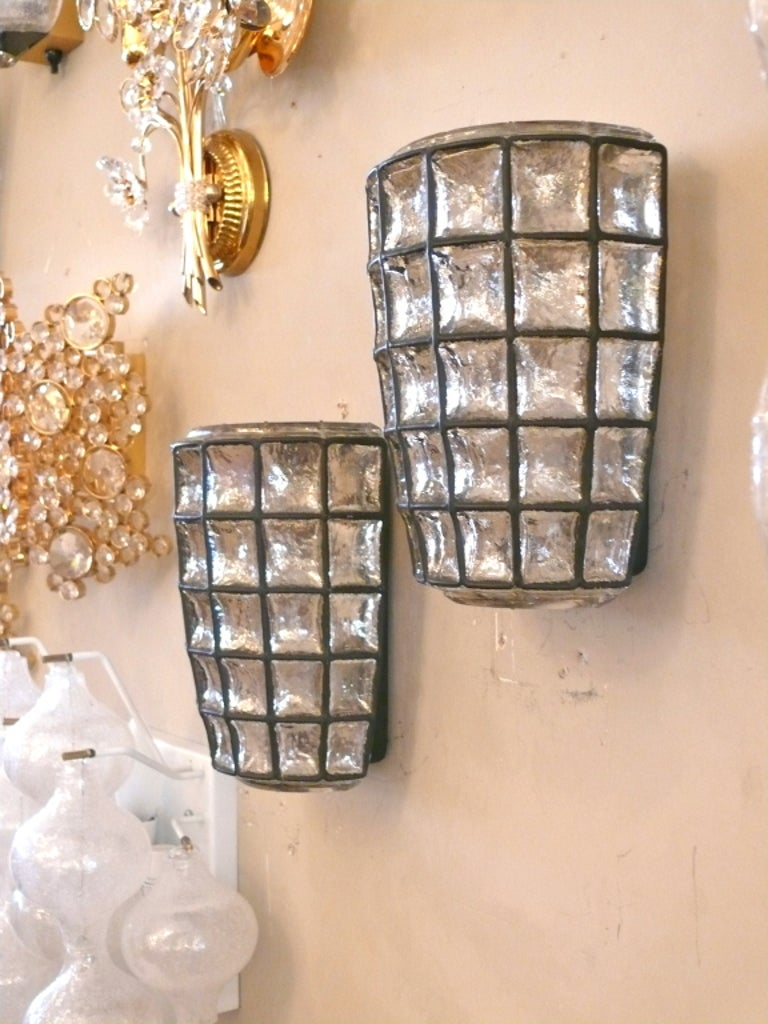 Large Iron and Glass Sconces For Sale 2