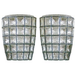 Large Iron and Glass Sconces
