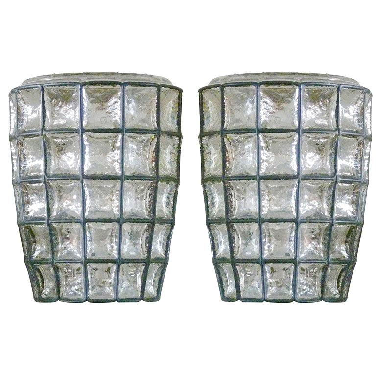Large Iron and Glass Sconces For Sale