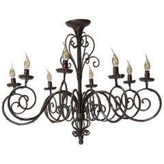 Large Iron Chandelier, France, circa 1950s