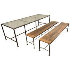 Large Iron Dining Table with Two Benches