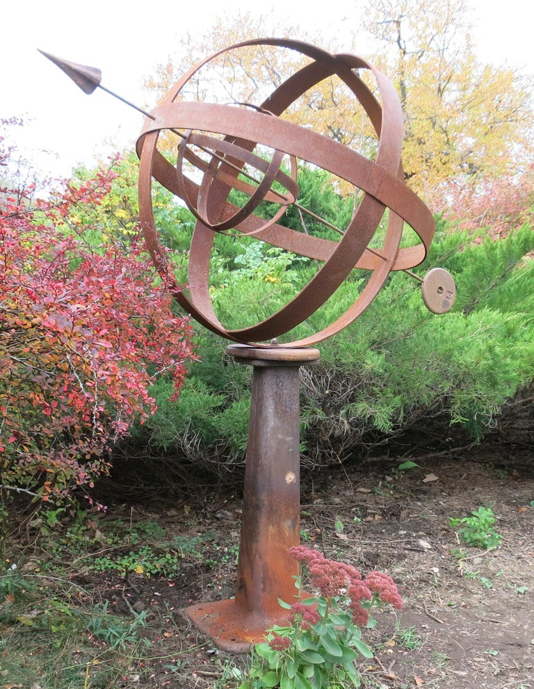 Industrial Large Iron Garden Armillary Artisan Made For Sale
