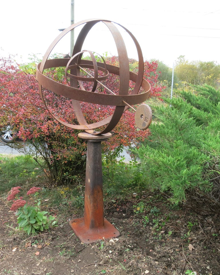 Large Iron Garden Armillary Artisan Made In Good Condition For Sale In Newtown, CT