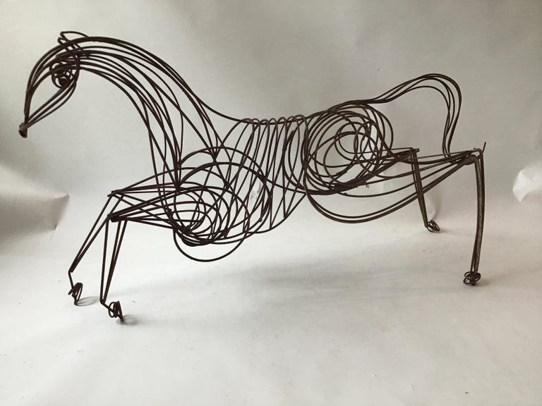 Mid-20th Century Large Iron Horse Sculpture For Sale