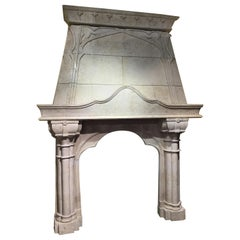 Large Ironstone Hand Carved Mantle, Cream Colored
