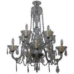 Large Italian 10-Light Murano Crystal Chandelier, circa 1920s