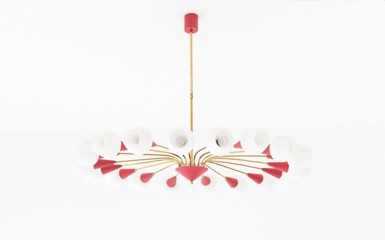 Large Italian 18 Arms Opaline Glass and Brass Spider Chandelier, 1950s For Sale 8