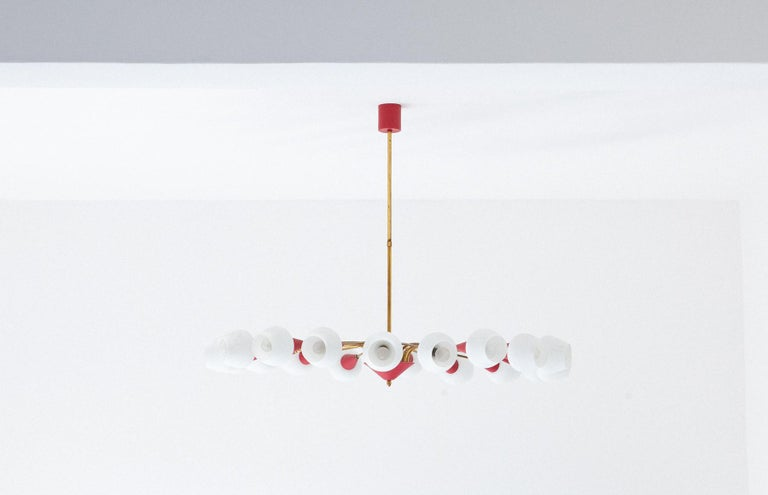 Mid-Century Modern Large Italian 18 Arms Opaline Glass and Brass Spider Chandelier, 1950s For Sale