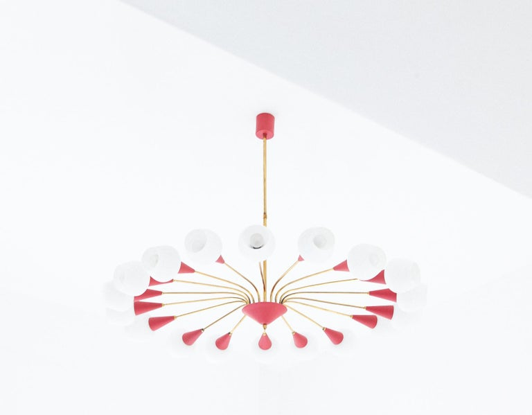 Large Italian 18 Arms Opaline Glass and Brass Spider Chandelier, 1950s For Sale 1