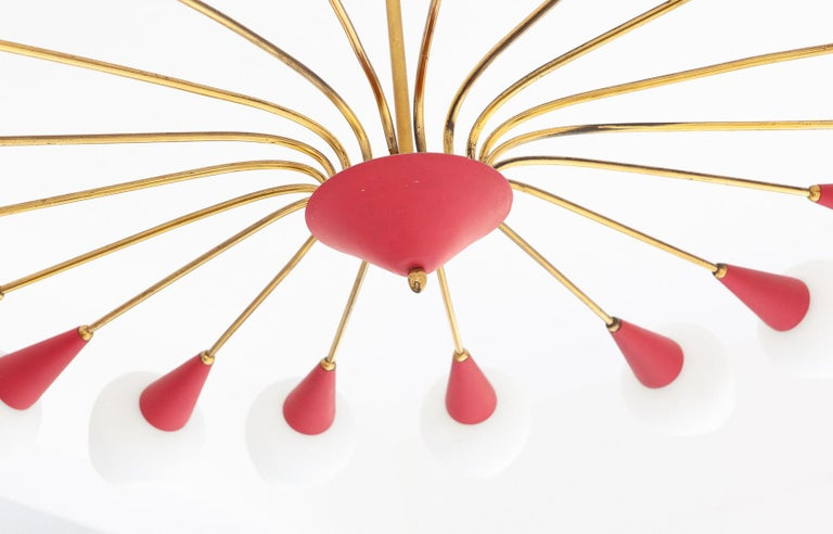 Large Italian 18 Arms Opaline Glass and Brass Spider Chandelier, 1950s For Sale 2