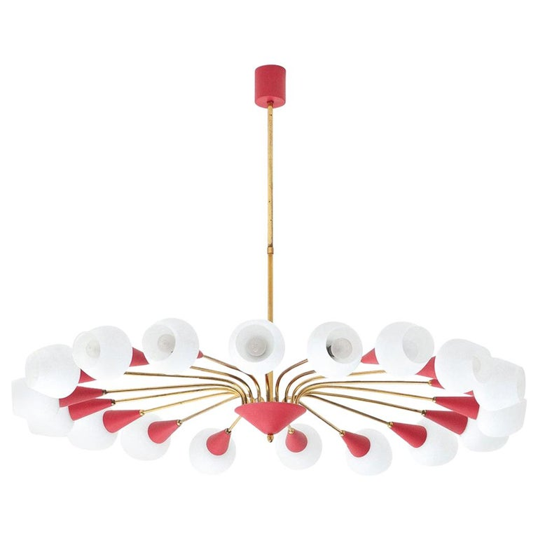 Large Italian 18 Arms Opaline Glass and Brass Spider Chandelier, 1950s For Sale