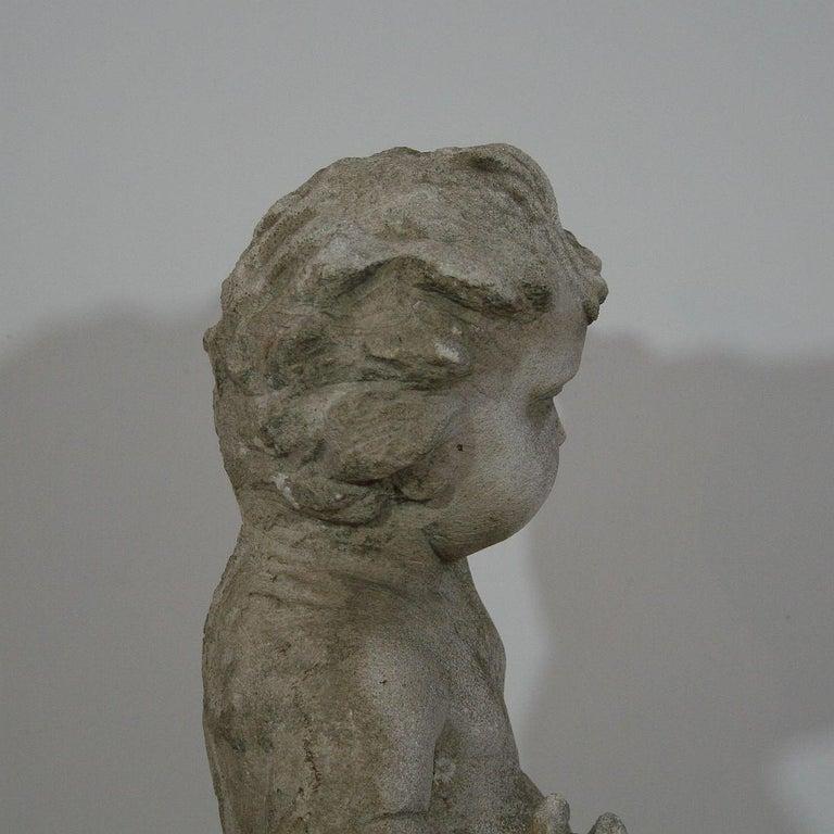 Large Italian 18th Century Carved Stone Angel Cherub For Sale 4