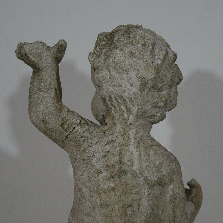 Large Italian 18th Century Carved Stone Angel Cherub For Sale 5