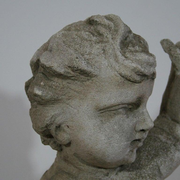 Large Italian 18th Century Carved Stone Angel Cherub For Sale 9
