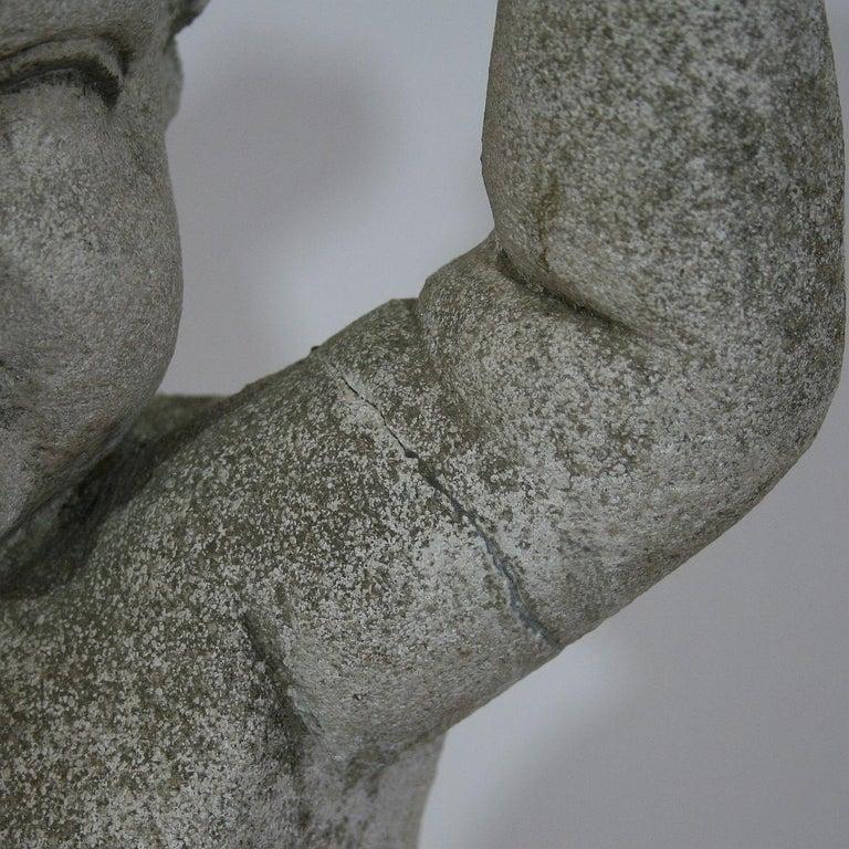 Large Italian 18th Century Carved Stone Angel Cherub For Sale 10