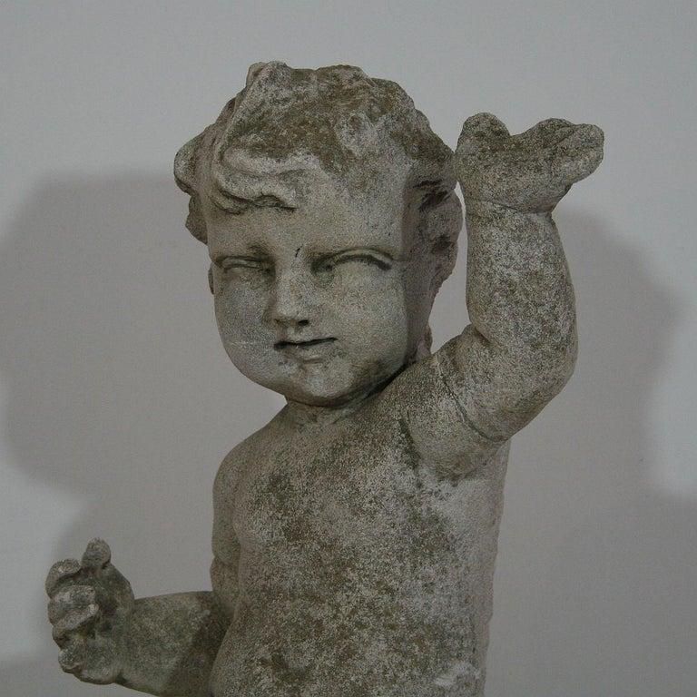 Large Italian 18th Century Carved Stone Angel Cherub For Sale 1